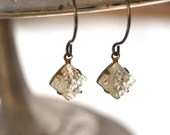 Vintage Crystal Patterned Diamond Glass Earrings - Vintage Assemblage