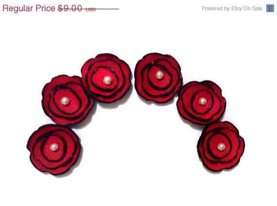 25% OFF Sale Jewelry supplies 6 pcs TINY leather flowers Cabochon flowers Red color - HMCreativeSupplies