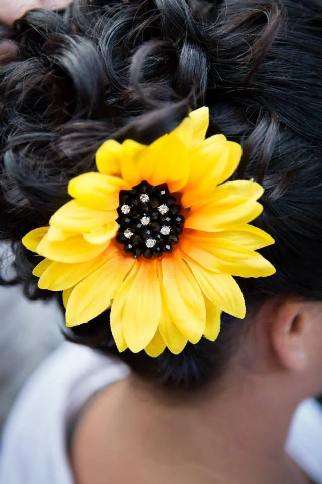 Large Sunflower Hair Clip With Rhinestones