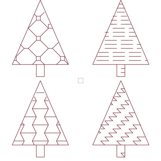 Counted cross stitch Red work Christmas trees digital cross stitch pattern