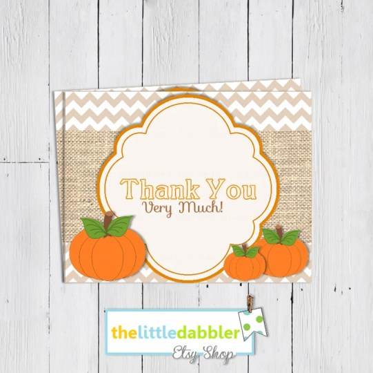 Fall Themed Thank You Card from thelittledabbler