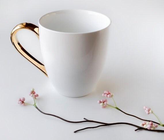Ceramic White and Gold Mug, Hostess Gift, Wedding Decor, Monogrammed, Mother's Day Gift, Wedding Gift, Engagement Gift