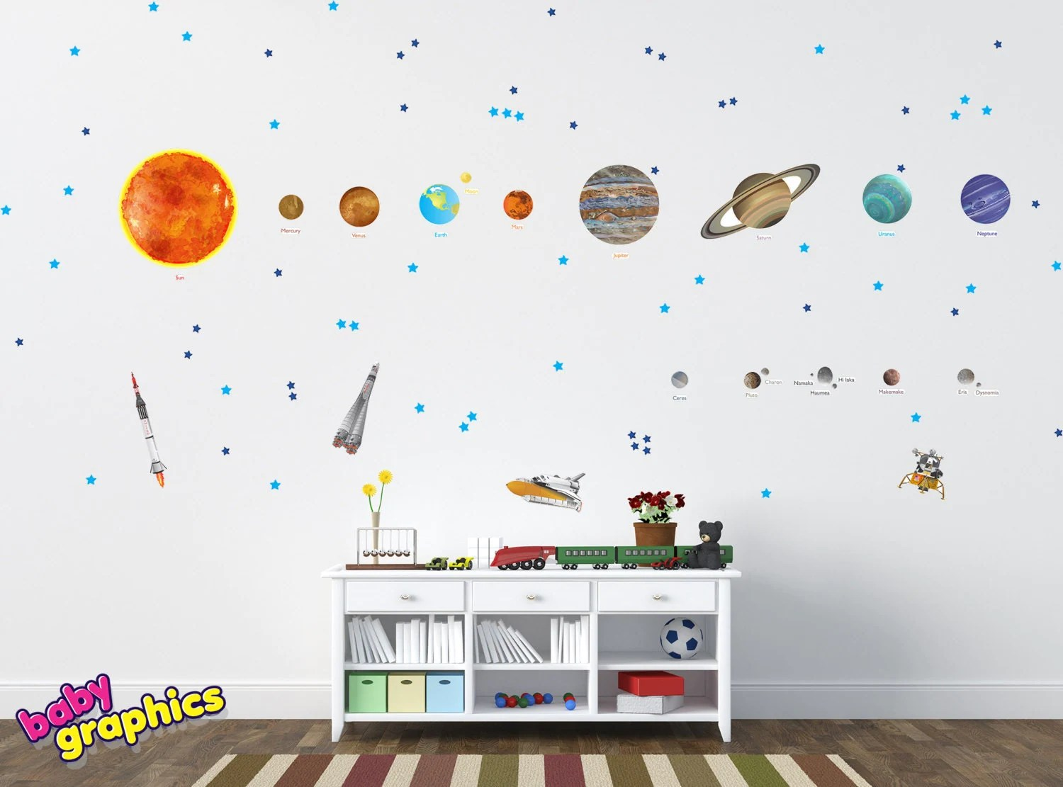 Large Solar System Wall Decals Removable Vinyl Amp Fabric All