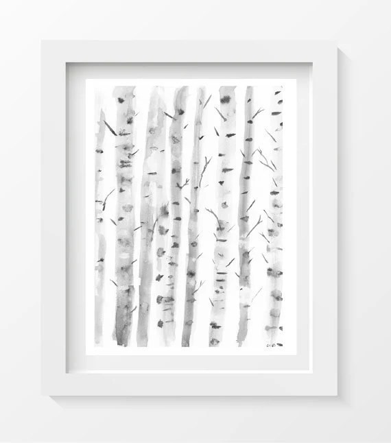5x7 - Birch Trees, Silver Birches, Watercolor Painting in Black and White, Soft Delicate Watercolor Print Wall Decor