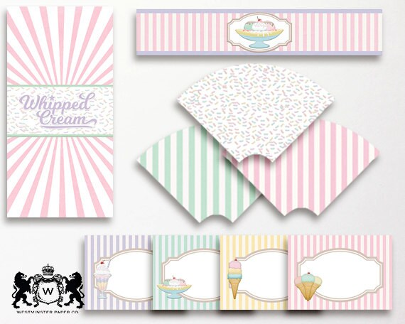Ice Cream Party Printable Pack Includes Tent Cards Napkin Wrap
