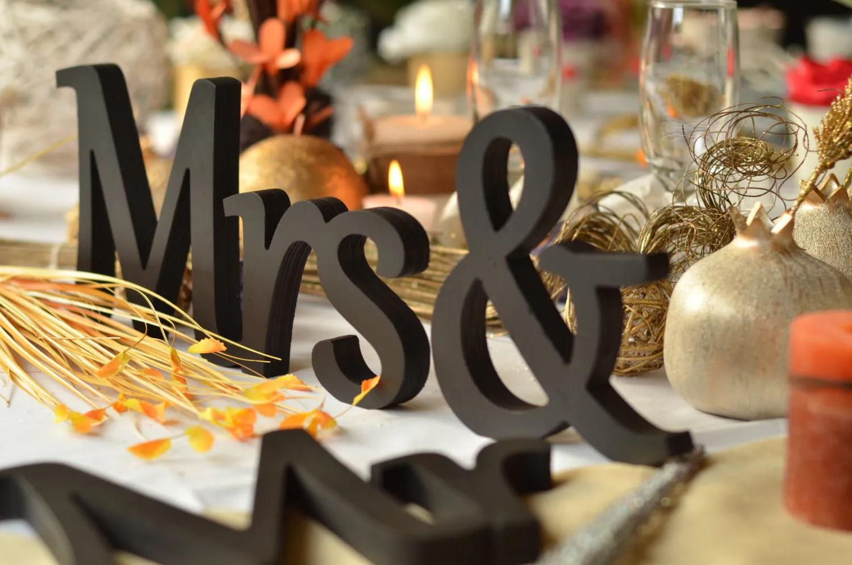 Mr. & Mrs. Letters Wedding Table Decoration Freestanding