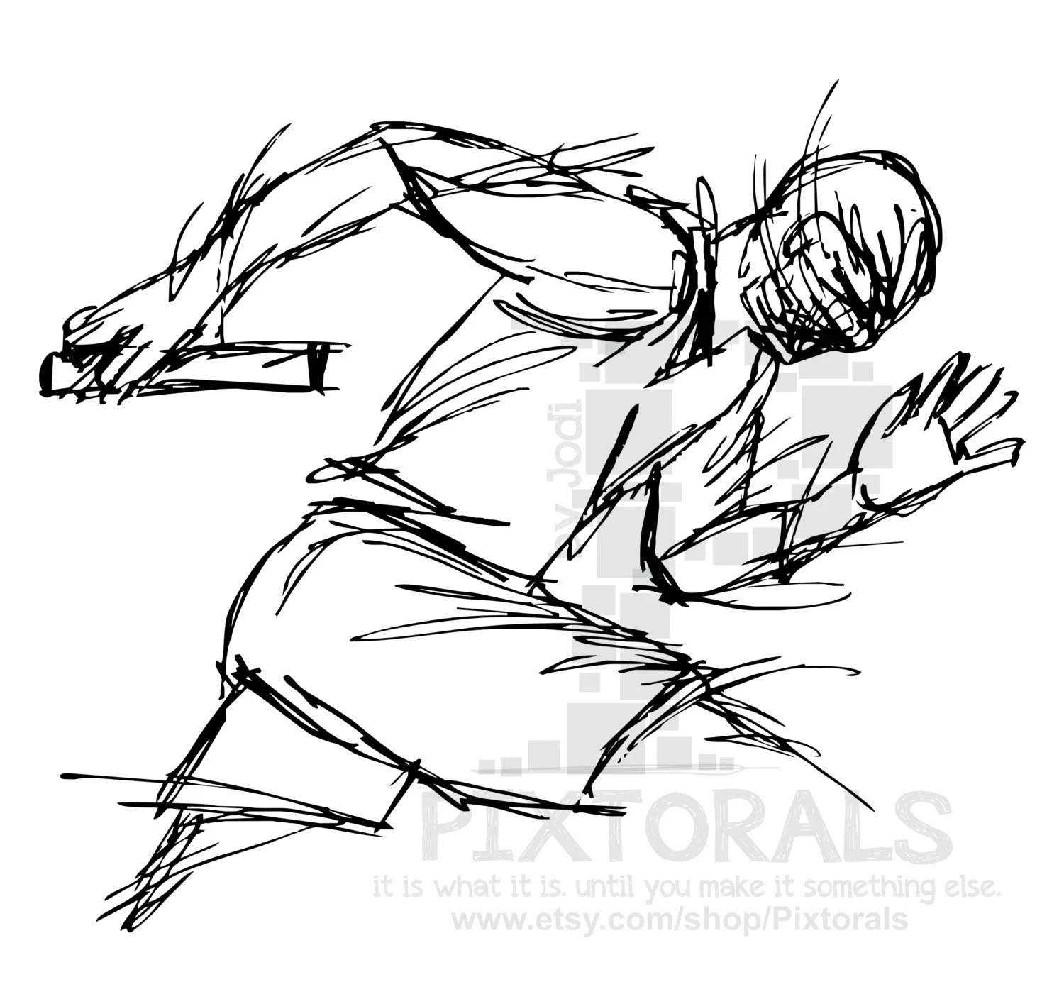 Track Relay Runner Clipart Sketchy Eps File Vector And