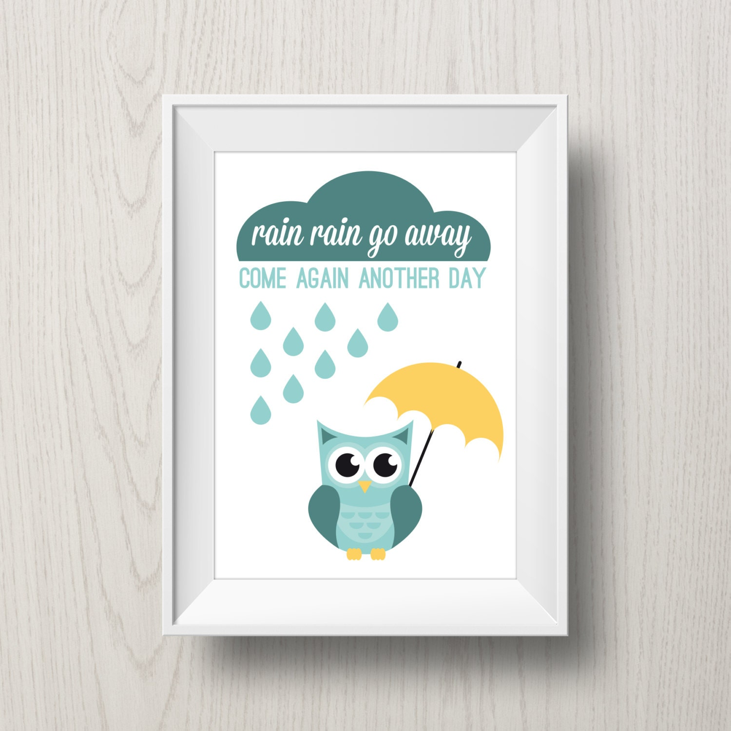 Nursery Art Rain Rain Go Away Printable Poster