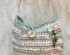 Tan aqua white crocheted rag bag --- Fabric crocheted purse with wooden beads --- Fairy handbag --- tagt rdtt