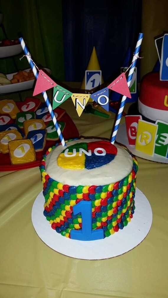 Uno Cake Topper Bunting First Birthday Smash Cake