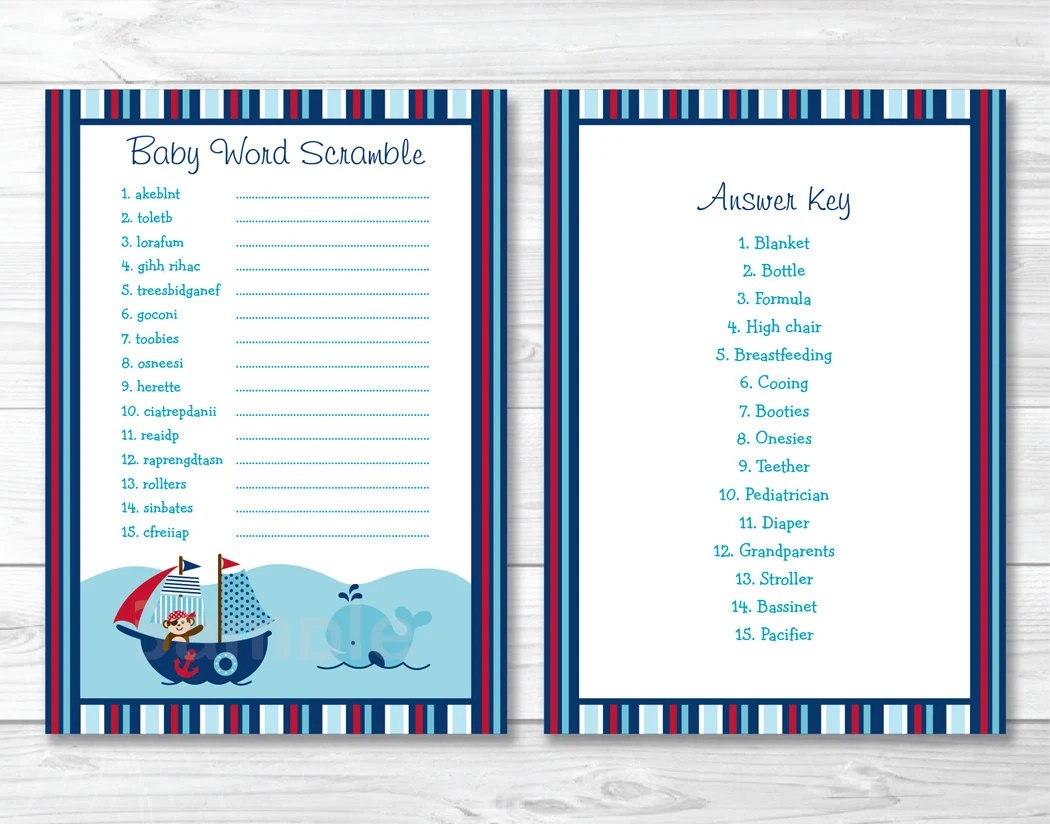 Nautical Baby Shower Word Scramble Game Nautical Baby Shower