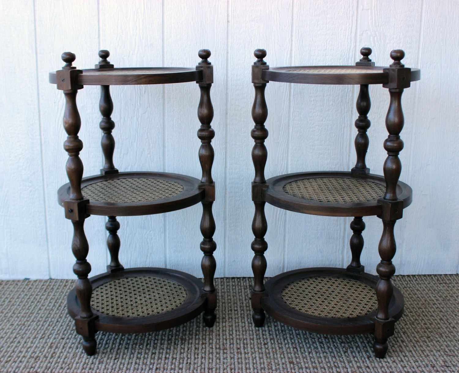 Vintage Retro 3 Tier Brown Round Circle End Tables By