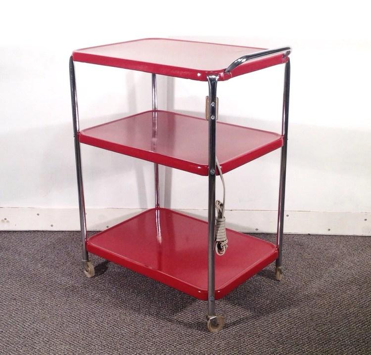 Deep Red Metal Kitchen Cart Vintage Rolling