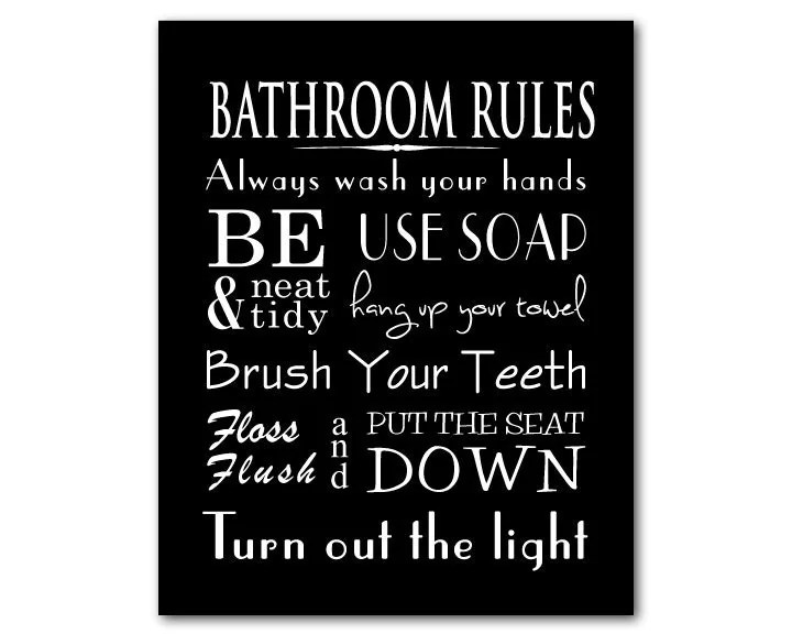 bathroom wall art word art print bathroom rules