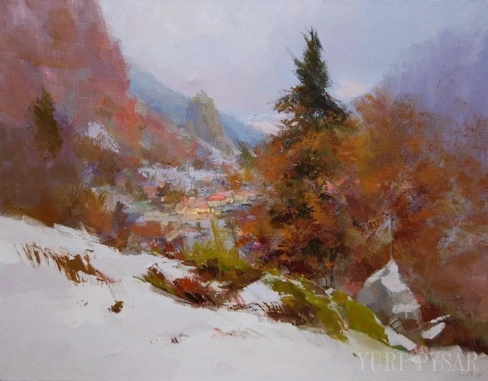 Winter Nature Large Landscape Painting Mountain Art Winter
