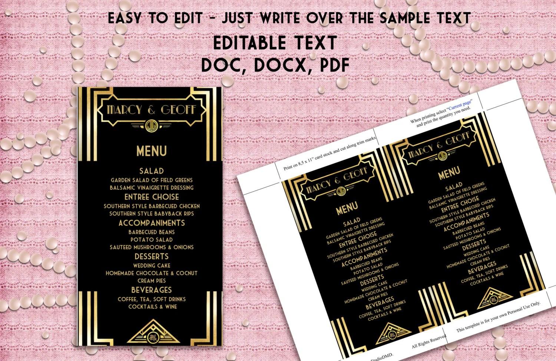 Printable Menu Template Art Deco Great Gatsby Inspired