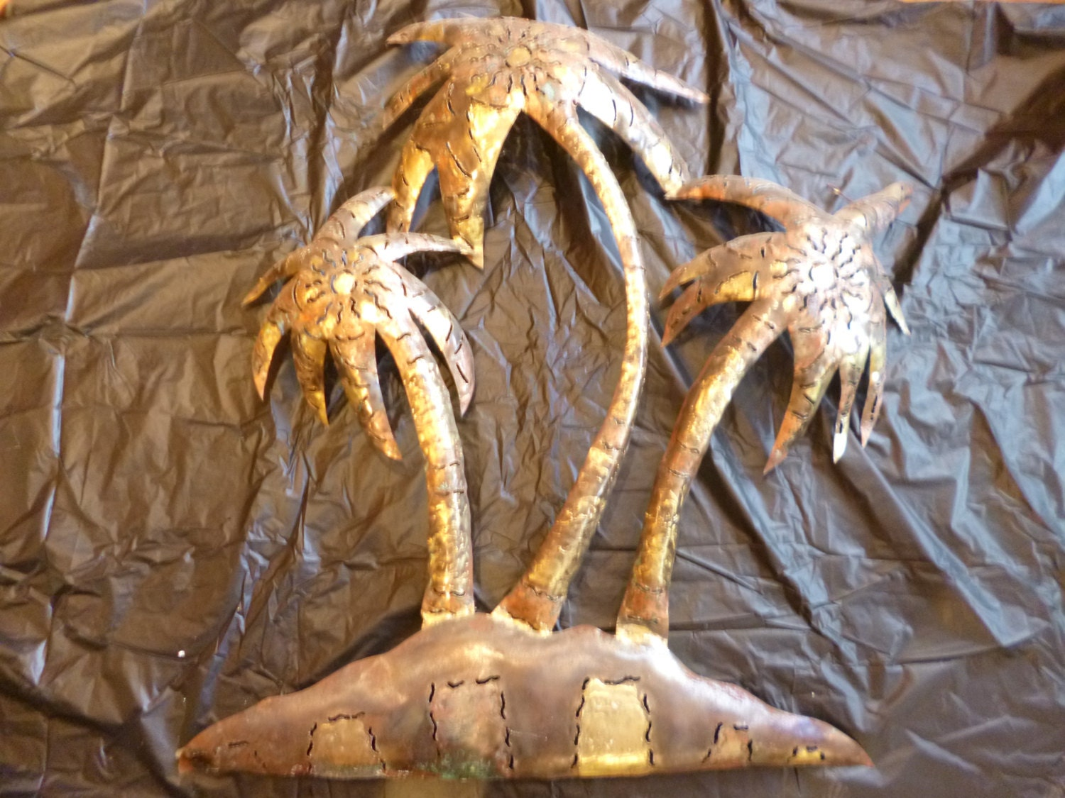Vintage Metal Palm Trees Mexican Wall Hanging Steel And Copper