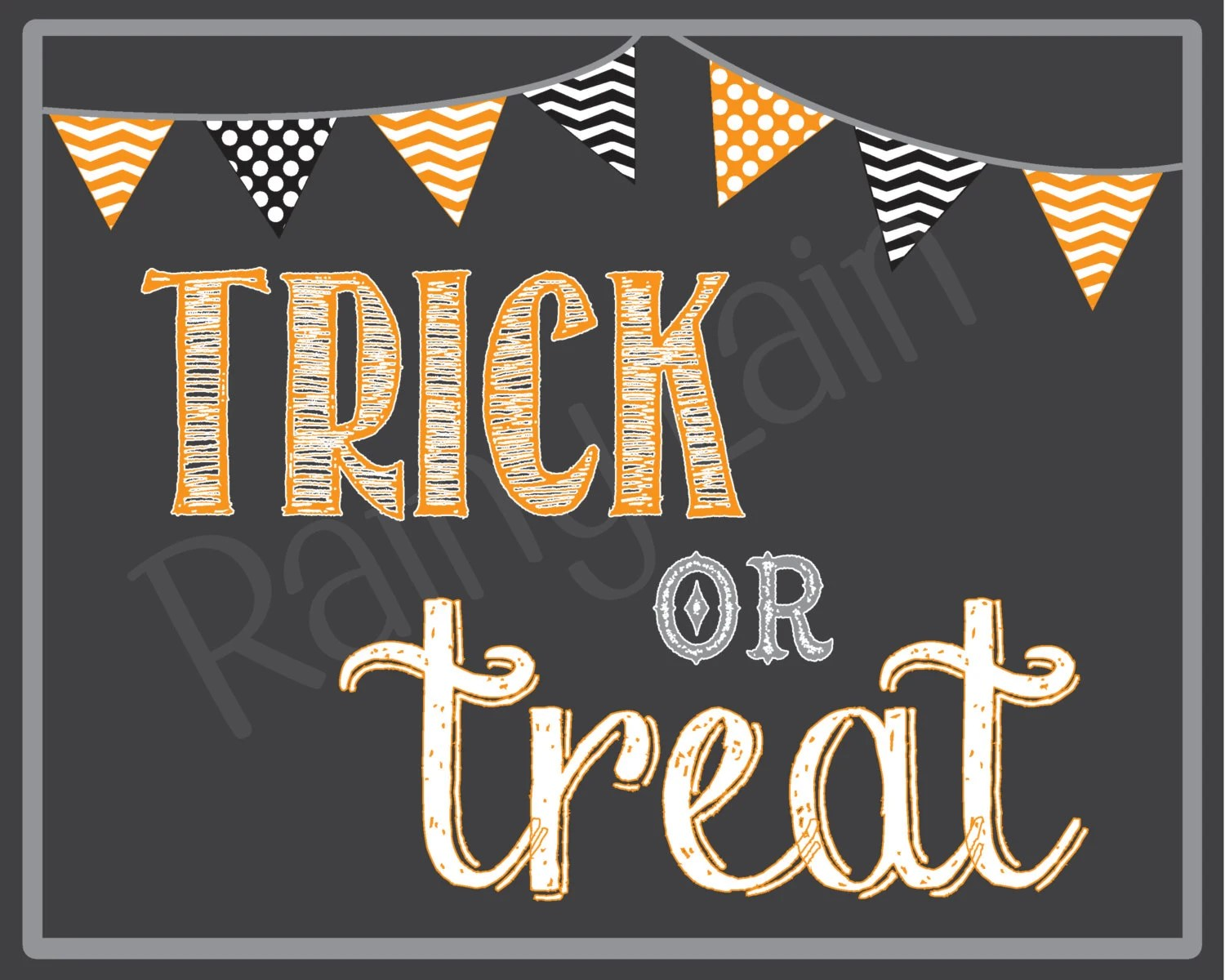 Trick Or Treat Printable Chalkboard Sign Halloween Photo