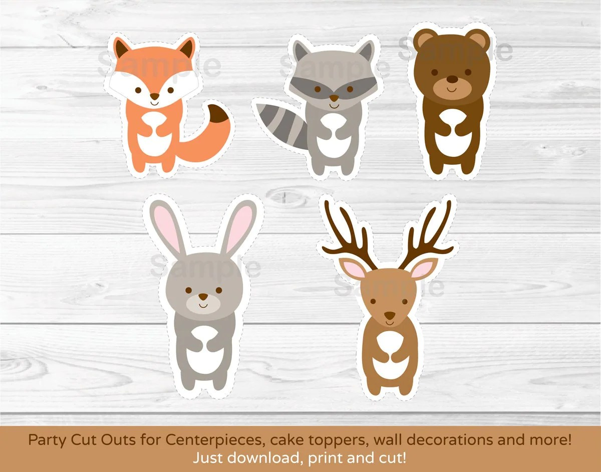Woodland Forest Animal Cut Outs Fox Deer Bear Raccoon