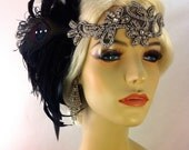 Art Deco Flapper Headband, The Great Gatsby, 1920s Headpiece, Daisy Buchanan, 1920s Flapper, Flapper Headpiece, Black and Silver Headband