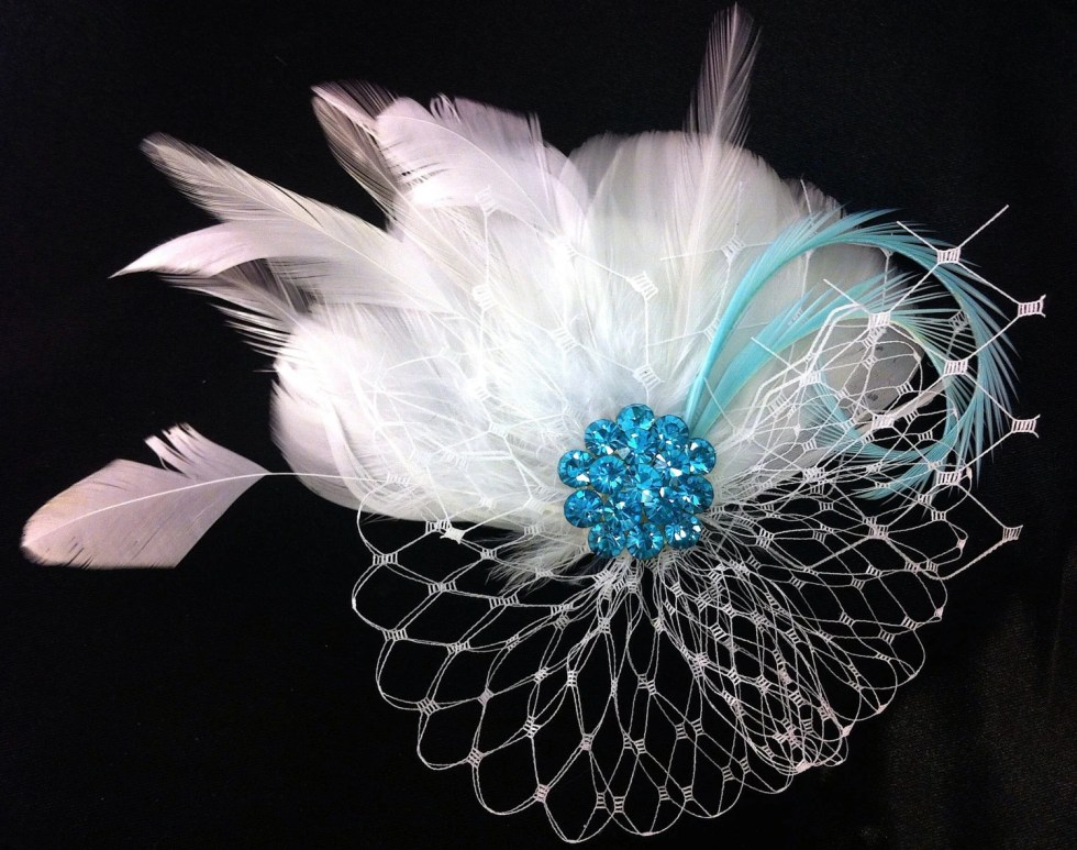 Wedding Fascinator, Wedding Hair Clip, Bridal, Prom, Wedding Hairpiece, Great Gatsby, Bridesmaid, White or Ivory, Something Blue, Ship Ready