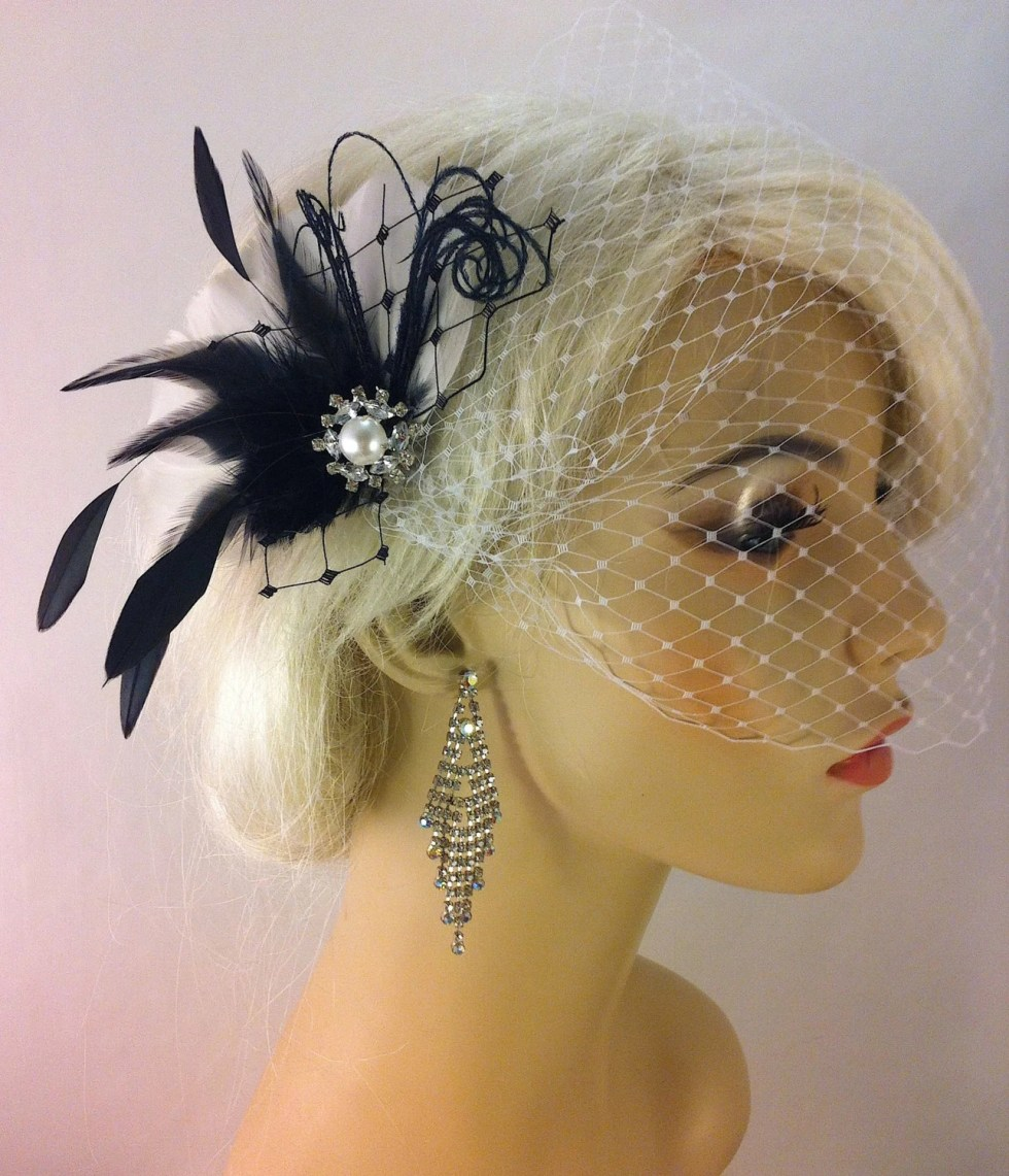 Fascinator, Feather Hair Fascinator, Wedding Hair Clip, Bridal, Prom, Wedding Hairpiece, Great Gatsby, Black and White Birdcage, Veil Set