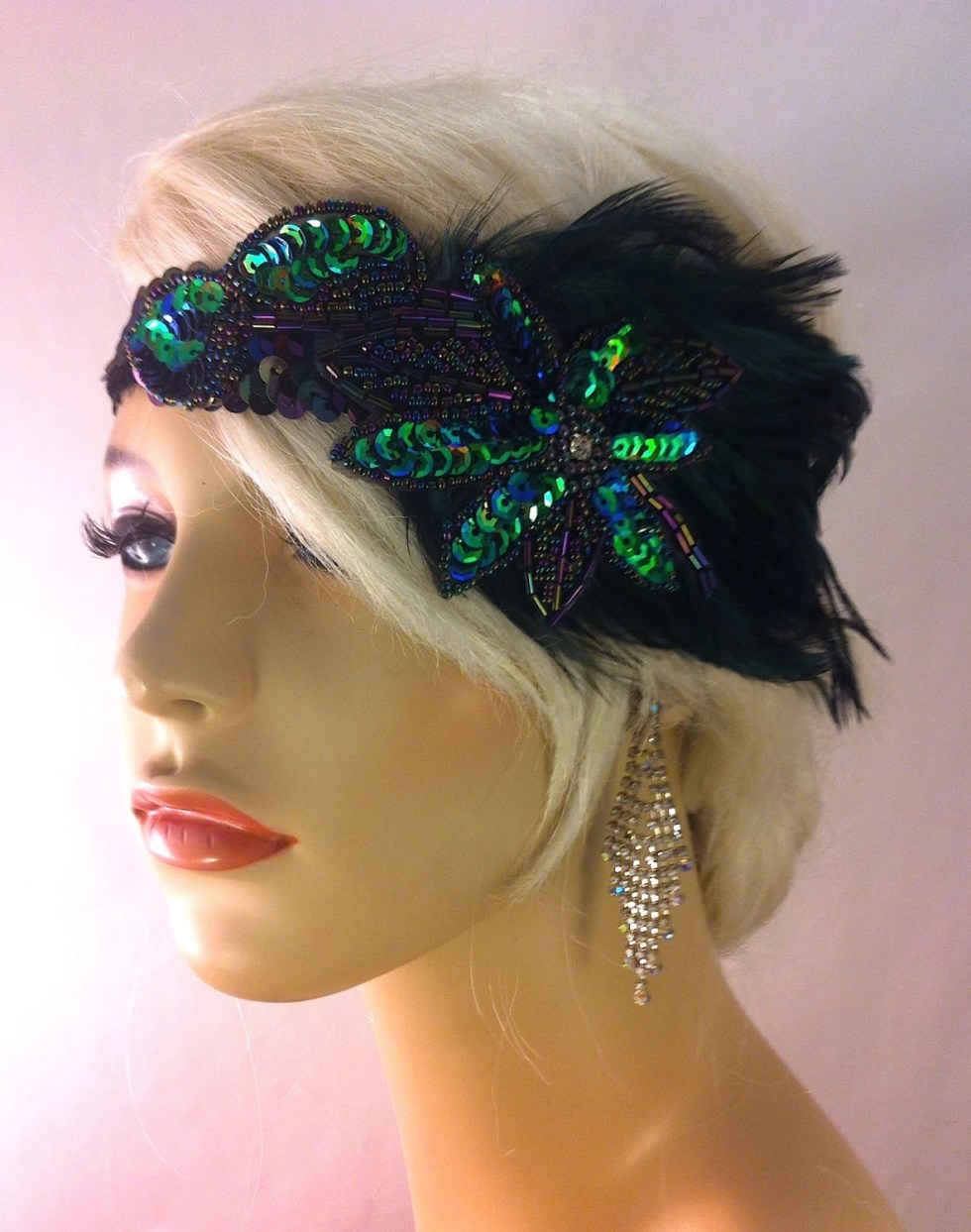 Great Gatsby Headband, Flapper Headband, Downton Abbey, Headband, 1920s Head Piece, Art Deco Headband, Dark Emerald and Peacock Colors