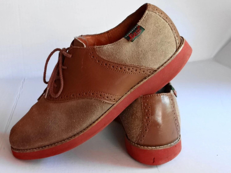 Vintage GH Bass Two Tones Tan /Brown Tie Saddle Oxfords
