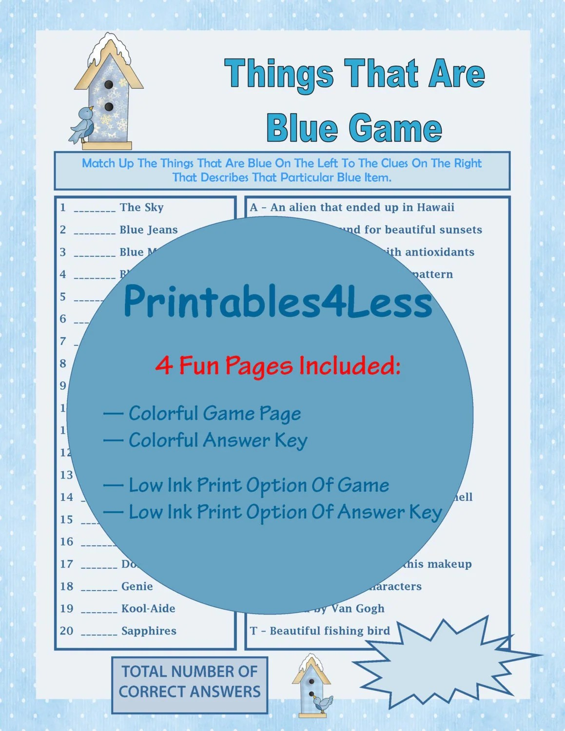 Things That Are Blue Game Fun Party Game Ideas Fun Printable