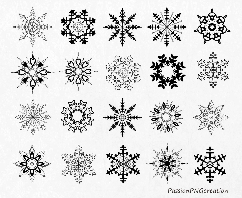 Black Snowflakes Clipart Christmas Clipart Snowflakes Clip