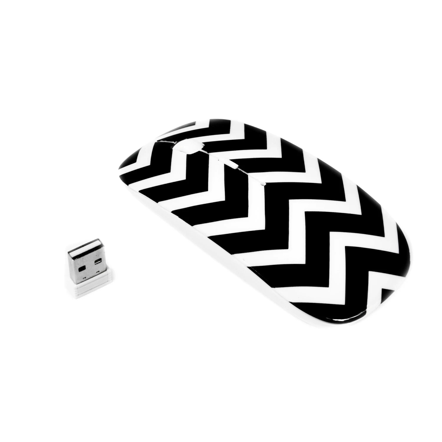 Chevron Series Black Usb Optical Wireless Mouse For Macbook