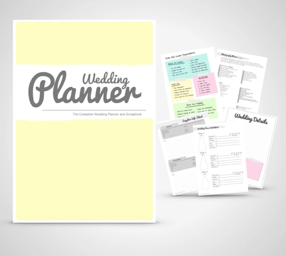 Wedding Planner Binder Printable Yellow And By