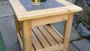 Handmade Cedar Patio Side Table With A Tile Inlay