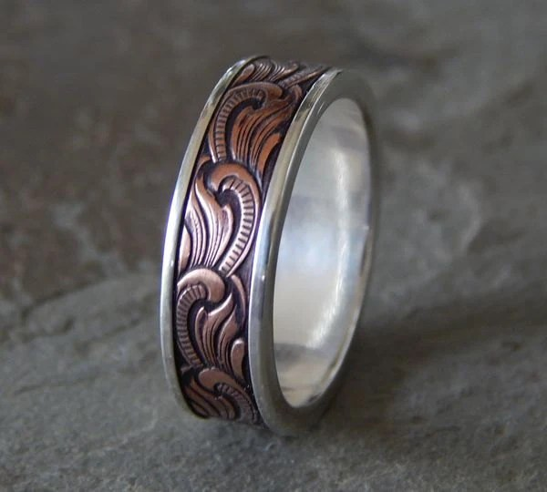 PAISLEY Silver Amp Copper Mens Wedding Ring