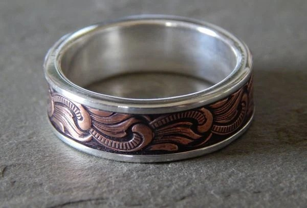 PAISLEY Silver Amp Copper Mens Wedding Ring By PaulZozem