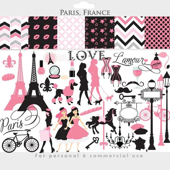 Paris Clipart France Clipart Eiffel Tower French Pink