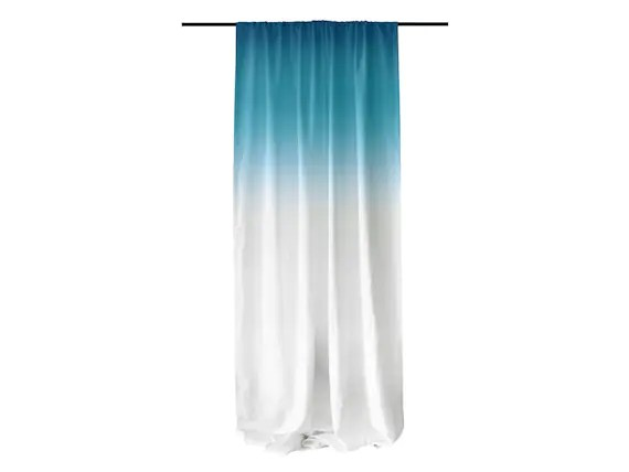 Linen Window Curtain Ombrè Turquoise Fade To By LovelyHomeIdea