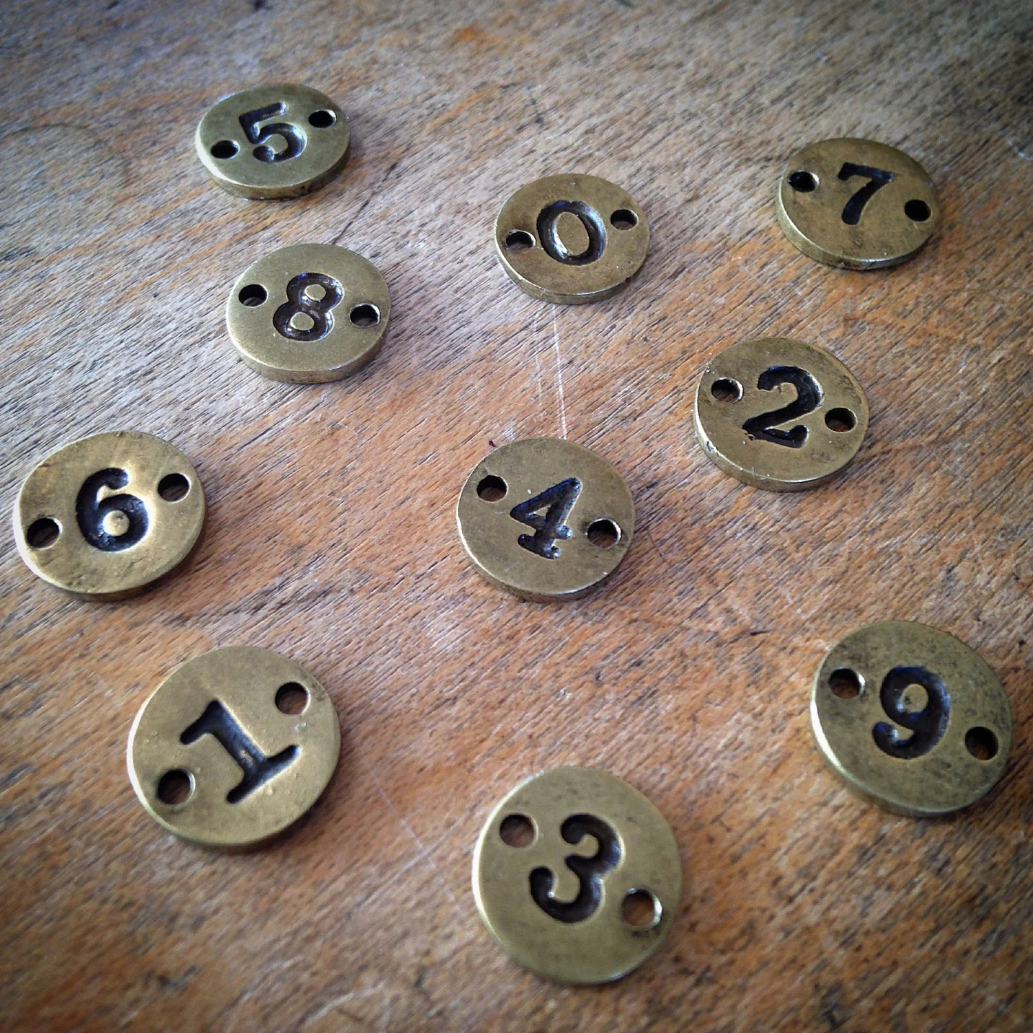 10 Pcs Number Charms 0 9 10mm Charm Numbers Antique Bronze