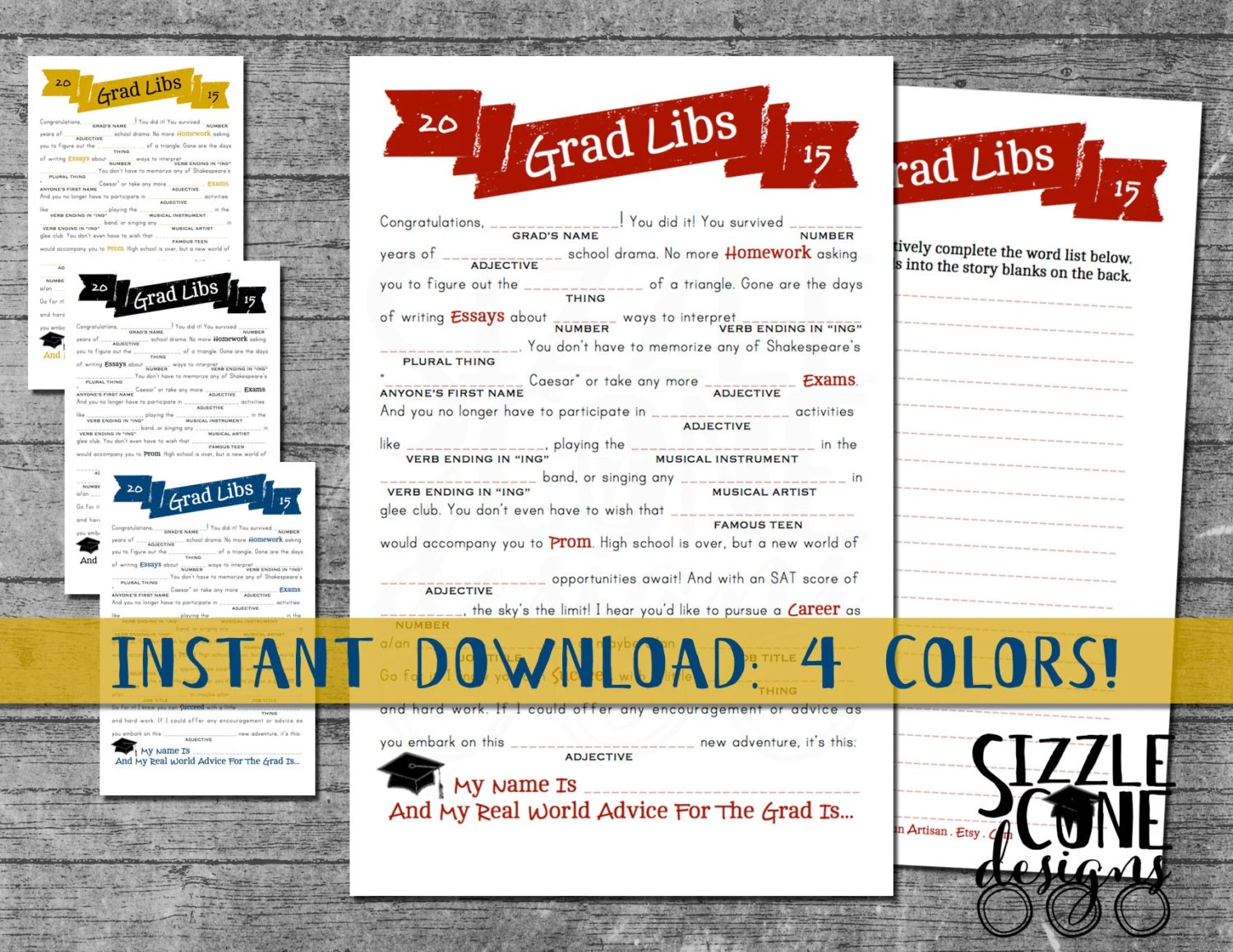 Graduation Mad Libs Printable High School By Sizzleconedesign