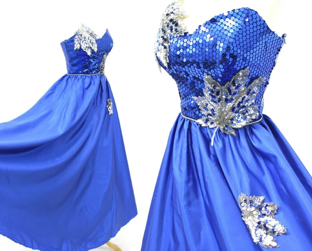 Blue Sequin Ball Gown Long Silver