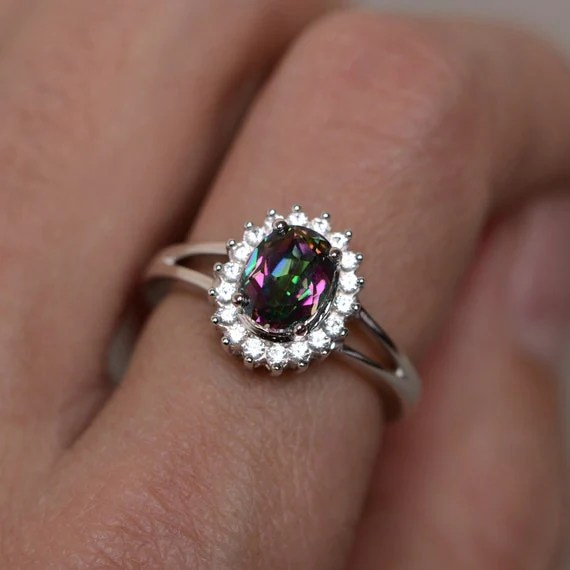 Mystic Topaz Ring Silver Rainbow Gemstone Ring Promise Ring