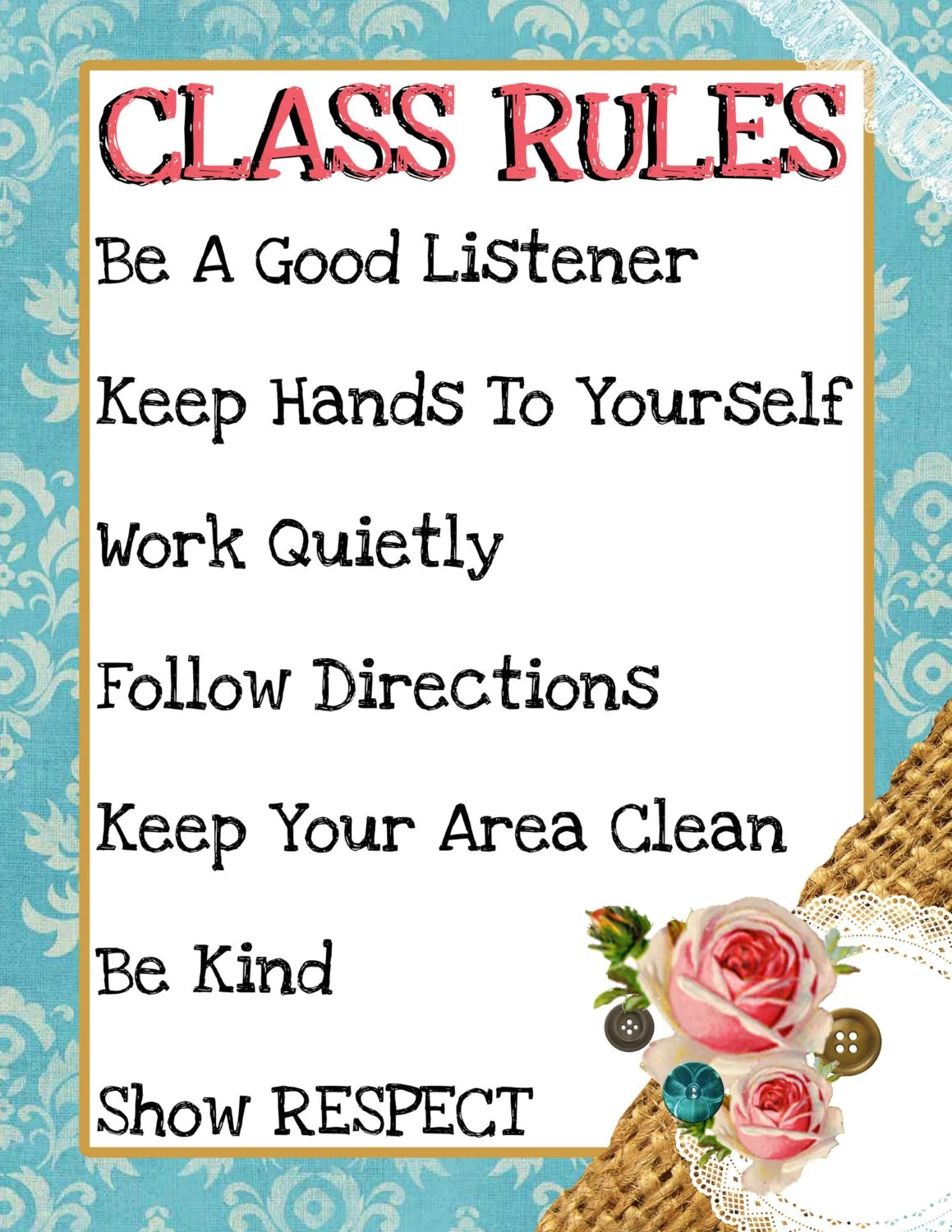Printable Classroom Rules Shabby Chic By Keepsakesbykristy
