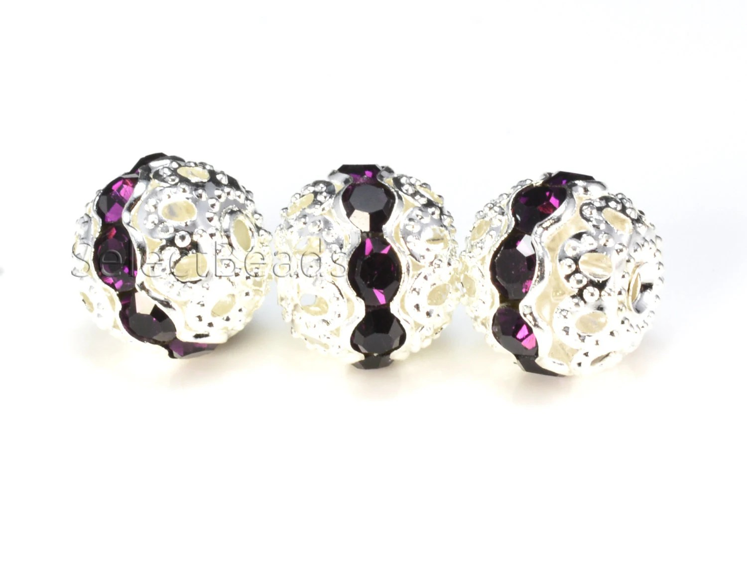 Rhinestone ball bead violet color silver plated 6 10mm for Craft and jewelry supplies