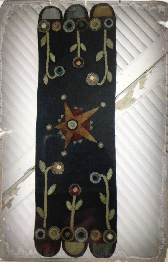 Pattern Rustic Star Table Runner Wool Applique By Heart