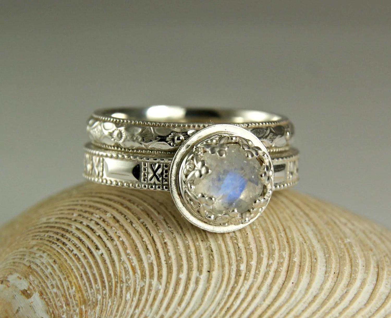 Blue Moonstone Wedding Set Wedding Band Amp Engagement Ring