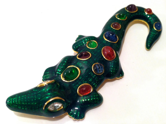 KJL Kenneth Jay Lane ALLIGATOR Figural Brooch Green Pin Wild