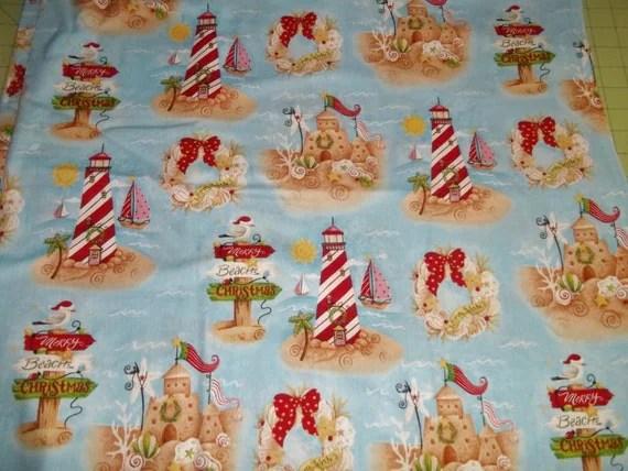 Christmas Lighthouse Beach Nautical Sandcastle Cotton Fabric