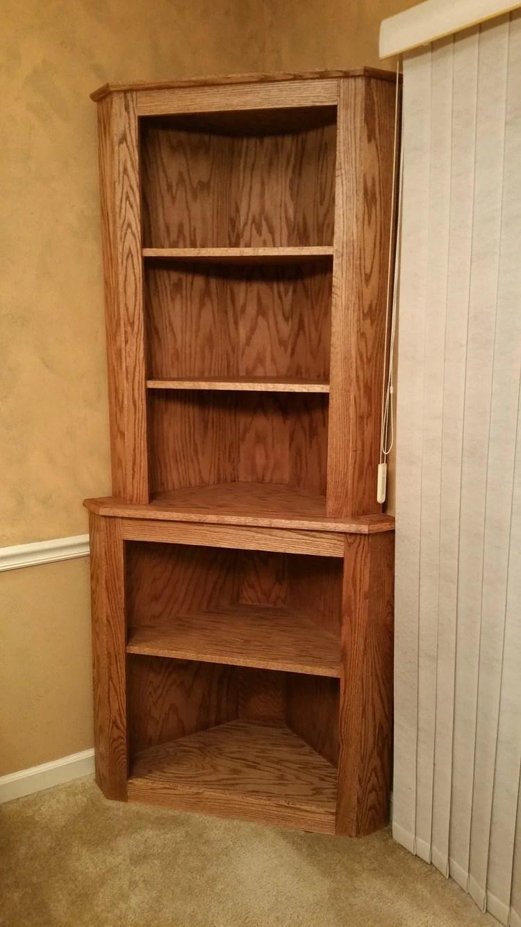 Oak Corner Hutch Cabinet Curio Bookcase Shelf Dishware Display