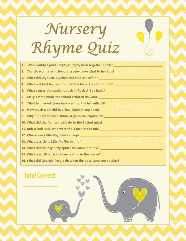 Diy Nursery Rhyme Quiz Chevron Baby Shower Activity Chevron