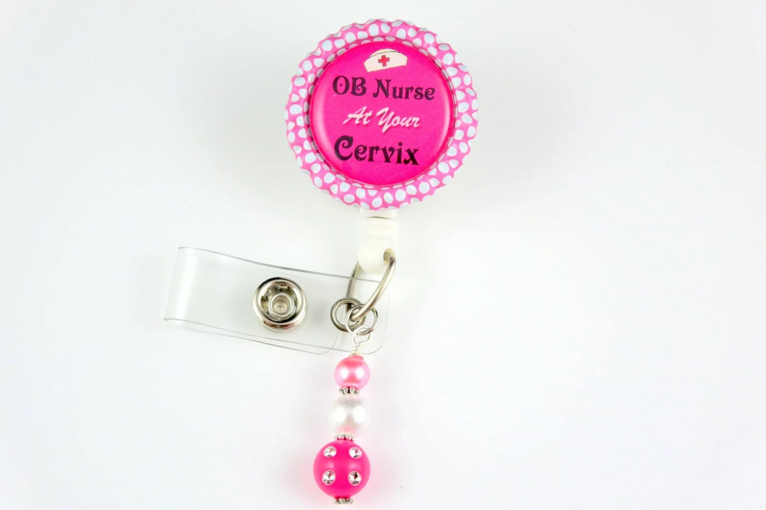 Ob Nurse At Your Cervix Retractable Id Badge Holder Name